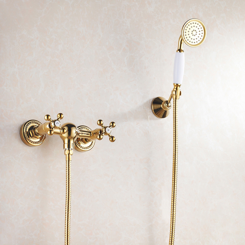 BAKALA Golden Fished Bath Faucets Wall Mounted Bathroom Basin Mixer Tap Crane With Hand Shower Head Bath & Shower Faucet GZ-6758 gappo classic chrome bathroom shower faucet bath faucet mixer tap with hand shower head set wall mounted g3260