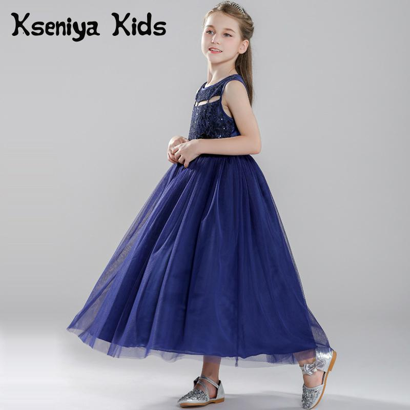 Kseniya Kids Dresses For Party And Wedding Ankle-Length Flower Hollow Net Ball Gown Children Evening Dresses Girl Formal Dress vintage net panel fit and flare dress