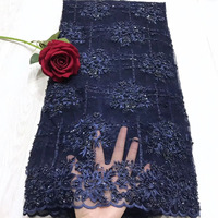 Luxury heavy handmade beaded bridal fabric dark blue red black wedding dress lace fabric