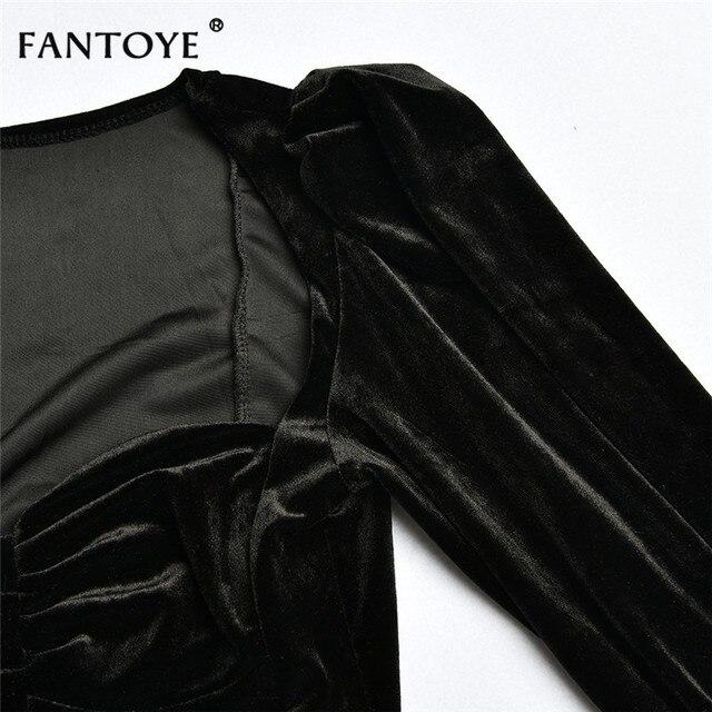 Fantoye Sexy Deep V-neck Black Flannel Crop top Women Elegant Bubble Sleeve Skinny Bodycon Bandage Tees Tank Top Corset Clubwear 5