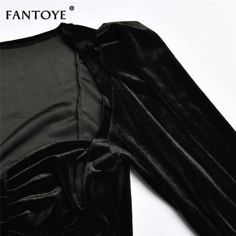 Fantoye сексуальный черный фланелевый укороченный топ с глубоким v-образным вырезом, женский элегантный облегающий топ с рукавами-пузырьками, топ-майка, корсет, клубная одежда