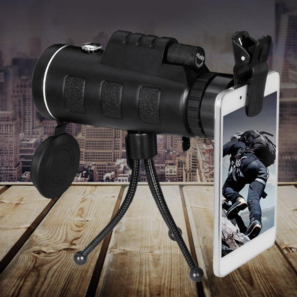 40X60 Monocular Teleskop HD Nachtsicht BAK4 Prisma Grün Film Umfang Mit Kompass Telefon Clip Stativ für Outdoor