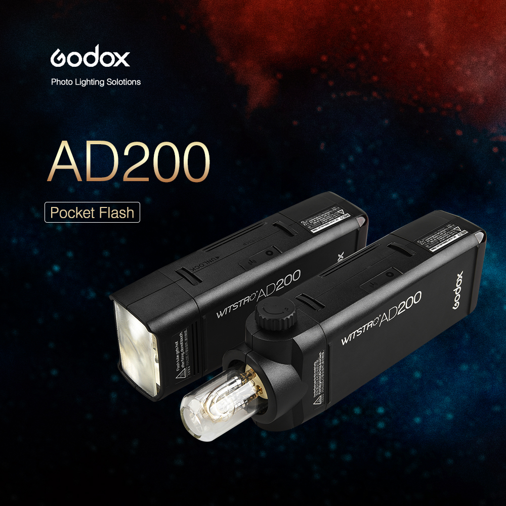 Godox AD200 200Ws 2.4G TTL Flash Strobe 1/8000 HSS Cordless Monolight 2900mAh Battery / Bare Bulb 500 Full Power Shots