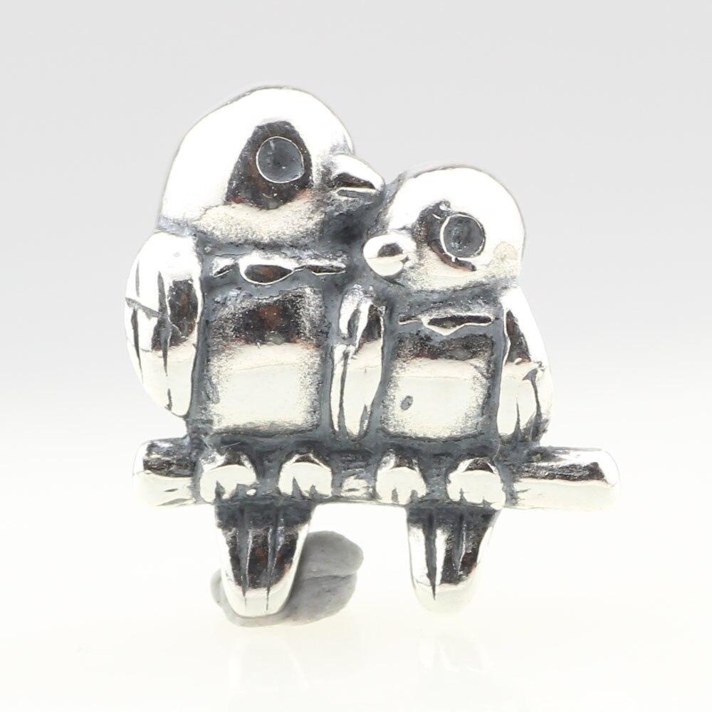 Authentische 925 Sterling Silber Charme Mutter & Baby Vögel Sitzen Auf Einem Ast Für Europäisches Armband