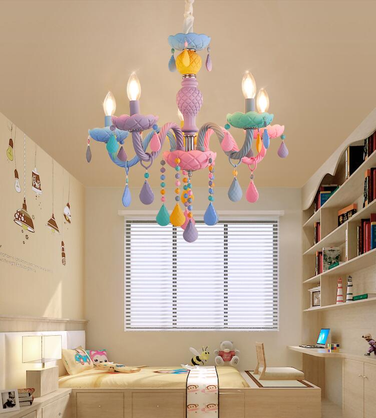 Creative macarons stained glass crystal chandelier children's room bedroom cafe candle pendant lamps, E14. the candle cafe cookbook