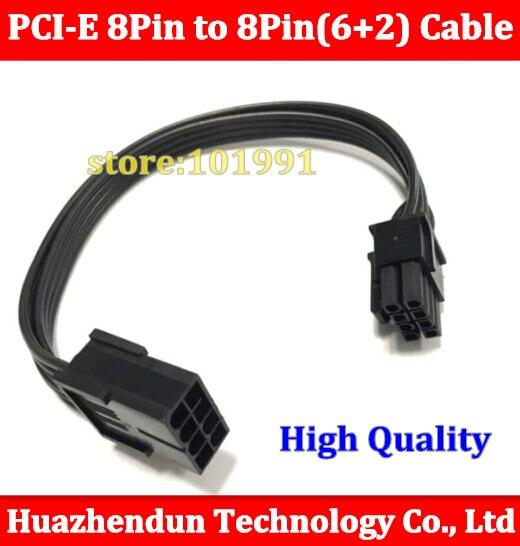 bilder für 20 stücke 20 cm 8 pin auf 8 pin 8-pin auf (6 + 2) 8pin extention power kabel Adapter Kabel 18AWG PCI E für grafikkarte