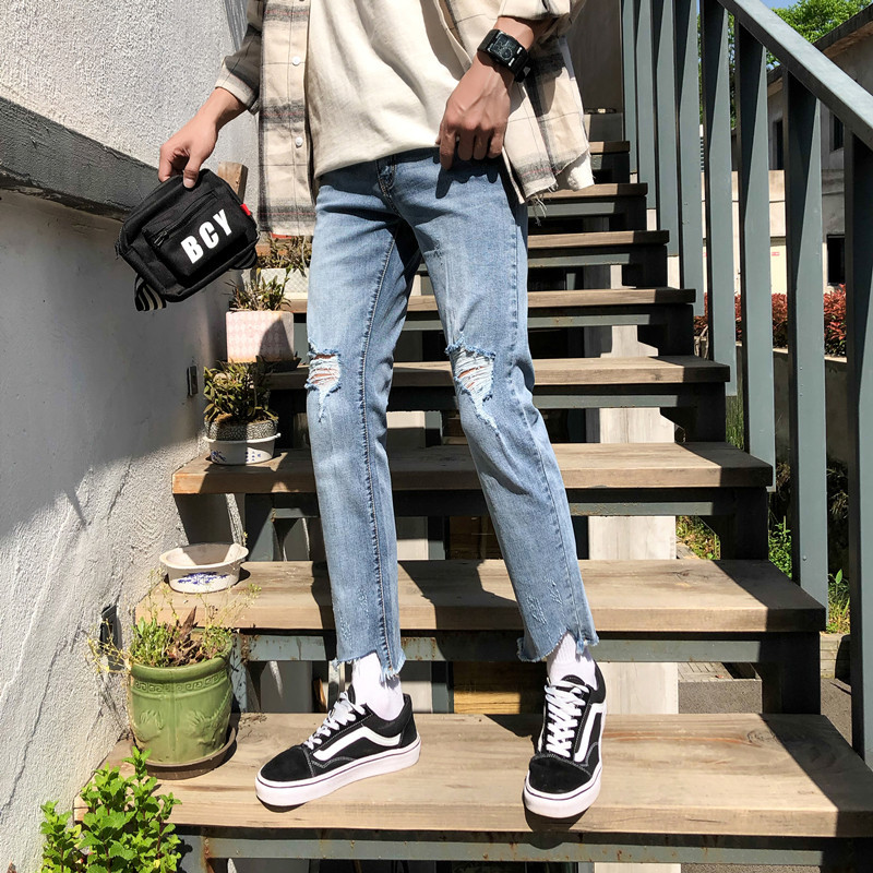 2018 Fashion Casual Men Slim High Quality Jeans Solid Color Male Ankle-length Cowboy Pants Leisure Youth Pop Demin Homme Holes