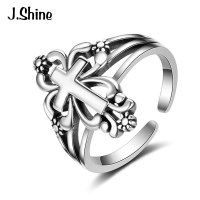JShine Vintage Punk Unique Design 925 Sterling Silver Cross Cuff Adjustable Rings For Men Anillos Silver