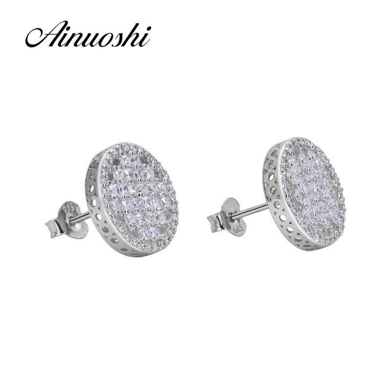 AINUOSHI luxe 925 en argent Sterling boucle d'oreille pour les femmes de mariage Halo ronde boucle d'oreille bijoux cadeau pendientes plata de ley mujer