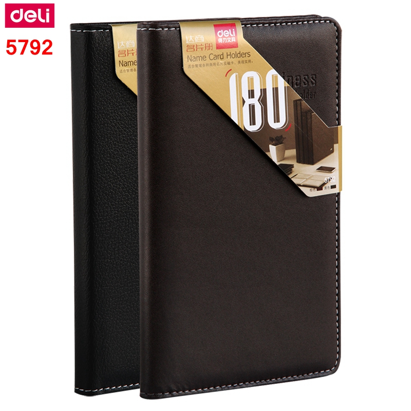 1PCS Deli 5792 A6 Name Card Holder Business Card Stock Card Storage Book 180 Pieces Card Capacity Leather Cover Wholesale