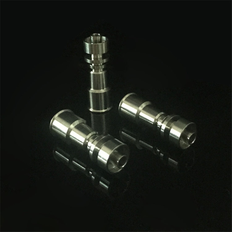 Grade2 Female 10mm&14mm and 14mm&18mm 2 in 1 Double Function Domeless Titanium Nails for glass bongs glass bubbler  hookah  0C 6