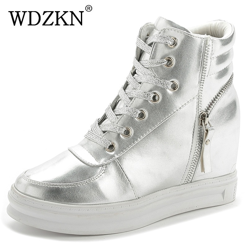 WDZKN Spring Autumn Women Boots Pu Leather Lace Up Height Increasing Platform Ankle Boots For Women Wedge Casual Shoes H2222 e toy word fashion ankle boots women spring autumn shoes women lace up solid boots female height increasing platform botas mujer
