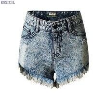 ROSICIL моды шорты джинсовой ткани женщин женские шорты сплошной синий короткие Джинсы отверстие Стиль Высота Талия женщины шорты летом