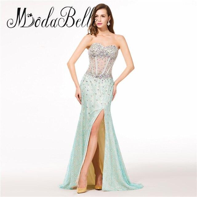 fca32ca0db Modabelle Rhinestone Brillante Vestido de Fiesta Sirena Escote corazón de  La Pierna de Hendidura Sexy Opacidad
