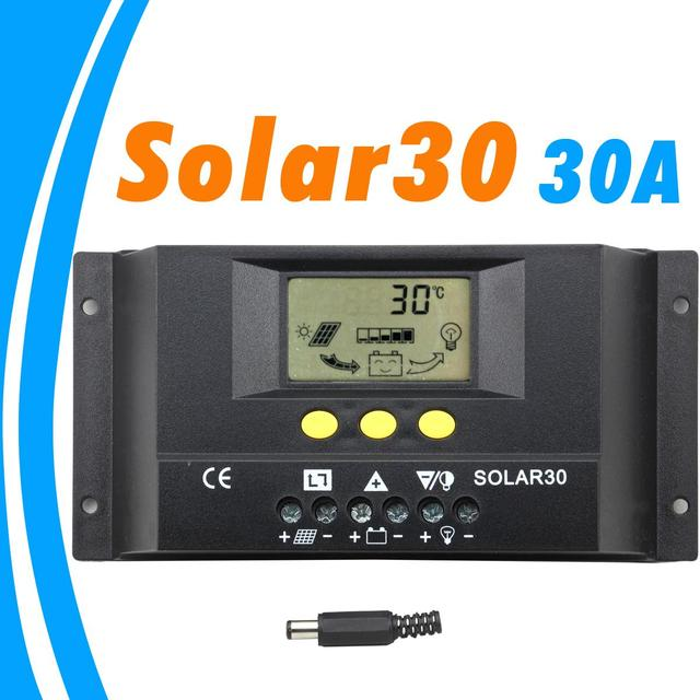 PWM Controller Solar 30A 12V 24V Auto LCD Display für Max 360w und 720w Panel Solar mit Temp Senor Licht und Timer Control