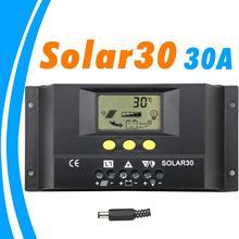 Pwm controlador solar 30a 12v 24v display lcd automático para max 360w e 720w painel solar com temp senor luz e controle do temporizador