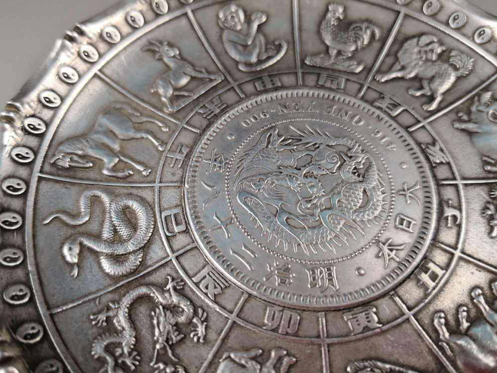CHINEA FOLK old Carved Tibetan silver plate zodiac dragon ornaments  Japanese silver coin A