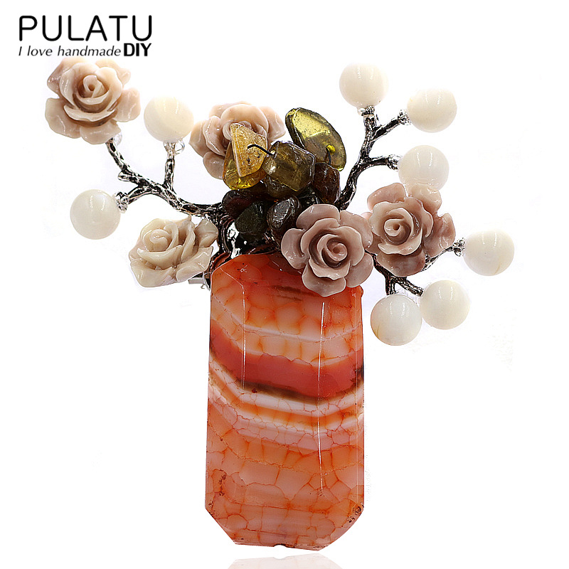 PULATU Original Handmade Bunch Brooches for Women Natural Stone Pendant Fashion Jewelry Bride Wedding Brooch Pins B2L4-9 все цены