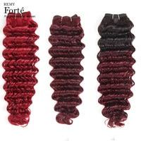 Remy Forte Hair Bundles Deep Wave Bundles 100% Remy Brazilian Hair Weave Bundles 99J T1B/99J Red Single Bundles Hair Vendors