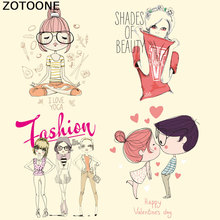 ZOTOONE Lovely Fashion Girl Patches Iron on Heat Transfer for Kid Clothing DIY Stripes Applique T-shirt Custom Sticker E