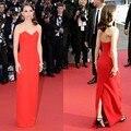 2016 Festival de cine de Cannes Natalie Portman V cuello de satén Celebrity Prom vestidos piso longitud Backless elegante de la alfombra roja