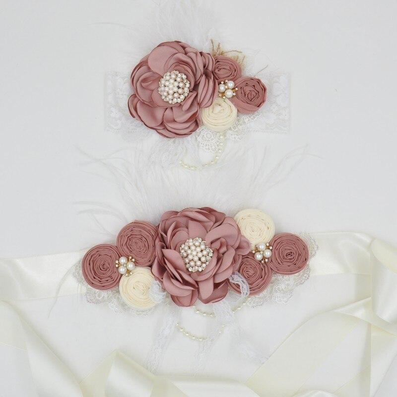 Satin Flower Sash Matching Sparkling Rhinestone Baby Headband Satin Flower Sash Belt Baby Girls Hair Accessories Kidocheese