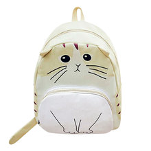 2017 Women Canvas Lovely Cute Cartoon Cat Backpack Girls Casual Students School Bag Ladies Travel Rucksack
