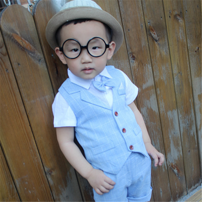 Baby Boys Clothing Sets 2018 New Summer Children Formal Wear Soft Short Shirt + Plaid Waist Coat + Shorts Kids 3PC Suits JJ010 ems dhl free shipping toddler little boys 3pc minions cartoon casual wear summer outfit children clothing 7 colors 80 90 100 110
