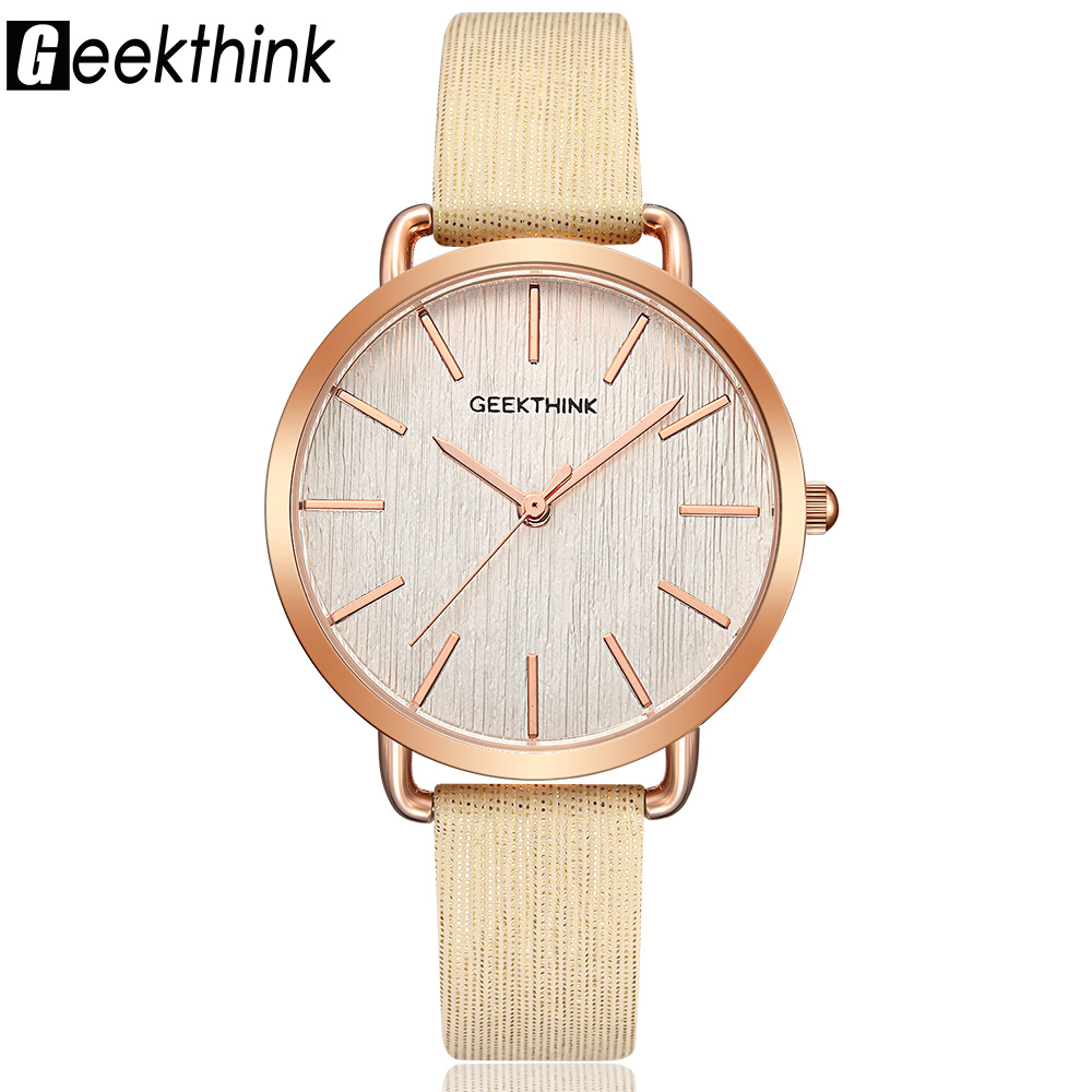Geekthink Top Luxury varumärke Fashion Quartz Watch Kvinnor Ladies Armbandsur Rose Gold Casual Leather Dress Klocka Kvinna Ny relogio