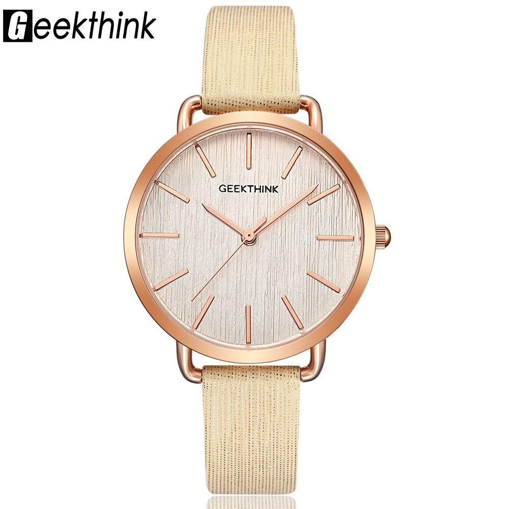 Geekthink Top Luxury brand Fashion Quartz Watch Women Ladies Wristwatch Rose Gold Casual Leather Dress Clock Female New relogio