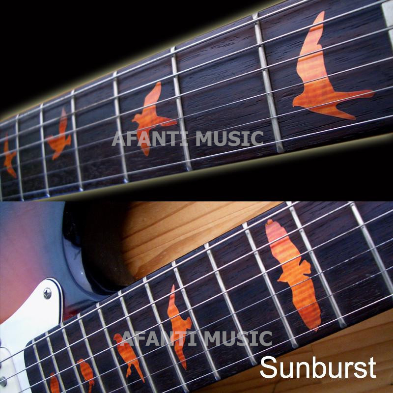 Afanti music High-grade guitar finger-board sticker / Shell decal / finger mark / Bird Inlay (FPD-112) inlay sticker decal guitar headstock diamond hatch gold white
