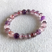 Natural Genuine Purple Hair Crystal Multi Colors Mix Super 7 Seven Bracelet Round Melody Stone 8mm 05128