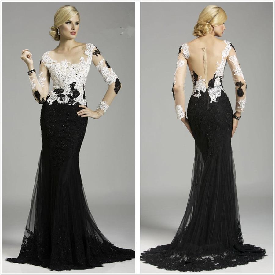 Black and white mermaid prom dress world dresses - New Elegant White And Black Beaded Lace Long Sleeve Mermaid Evening Dresses 2016 Robe De Soiree