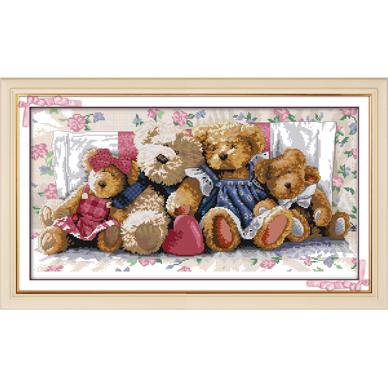 Everlasting love Christmas Bear family Ecological cotton Chinese cross stitch kits counted stamped 14CT 11CT sales promotion