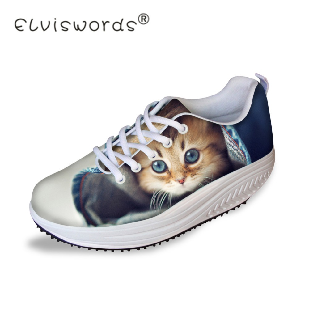 ELVISWORDS Cute Women Casual Flats Platform Shoes 3D Animal Cat Printed Female Health Female Beauty Swing Shoes Shape Ups Girls forudesigns women casual wedge platform shoes 3d animal rabbit printed height increasing shoes shape ups for female swing shoes