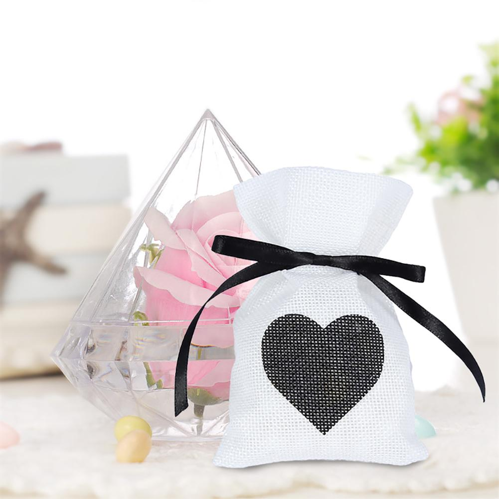 12pcs/set Black Peach Heart Shaped Jewelry Linen Bag Love Heart Type ...