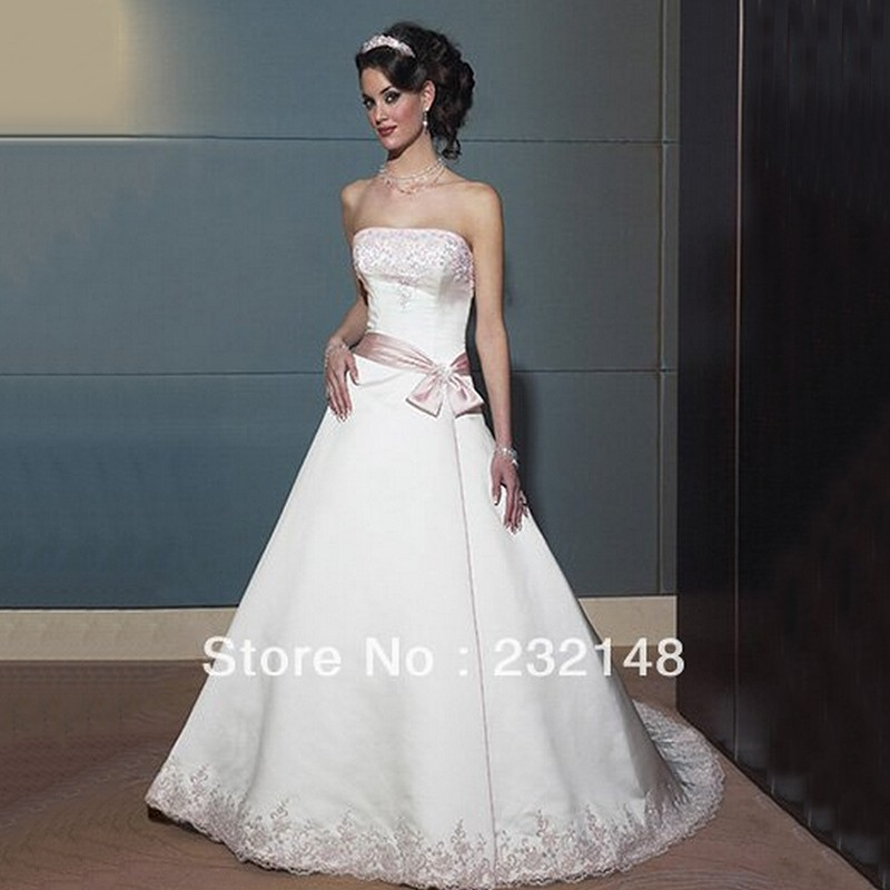 Strapless Satin A Line Wedding Gowns With Light Pink Sash