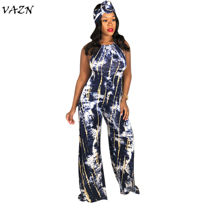 Jumpsuits Vazn Autumn Hot 2018 Sexy Print Wide Leg Jumpsuits Sexy Spaghetti Strap Sleeveless Jumpsuits Hollow Out Loose Jumpsuits Smd6644 Pretty And Colorful