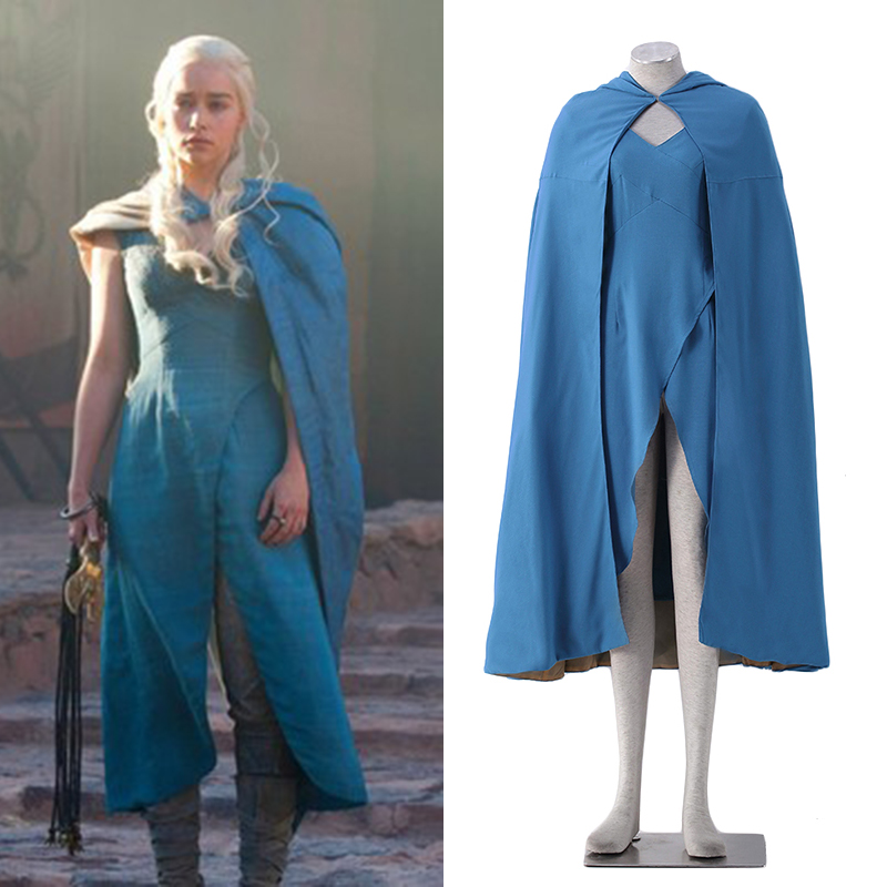 Cosplay dress with cloak for Daenerys Targaryen blue dress Game of Thrones coplay costume free shipping