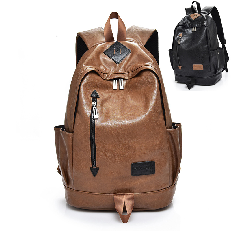New Men Pu Leather Backpacks Waterproof Man Casual Daypacks 15.6 Inch Laptop Backpack Male Preppy Style School Bag Mochila
