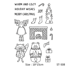 AZSG Christmas Deer Fireplace Socks Clear Stamps/Seals For DIY Scrapbooking/Card Making/Album Decorative Silicone Stamp Crafts
