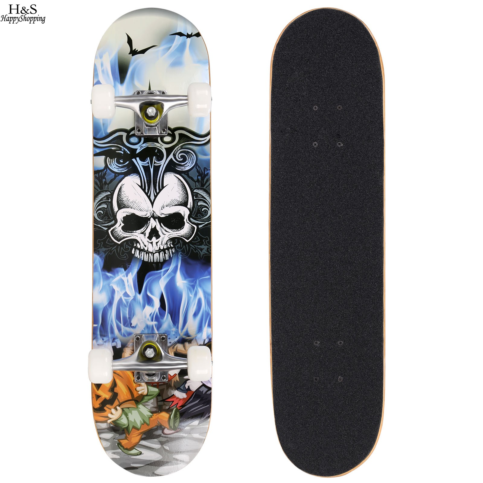Skateboard Uses: Complete Skateboard PRO Print Wood Skate Board +PU Wheels