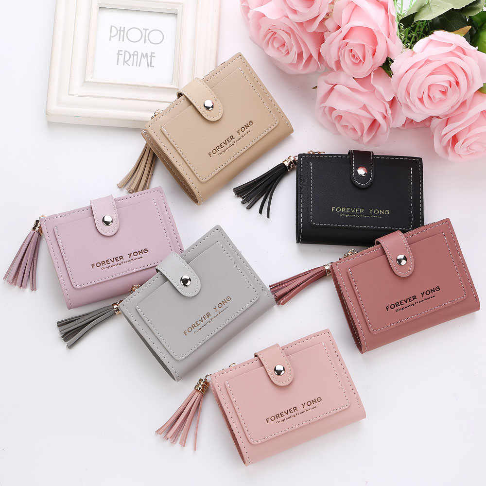 Top Quality Fashion Short magical Wallet Simple Retro Letters Solid color Coin Purse Change Purse Money Bag Pocket Brand