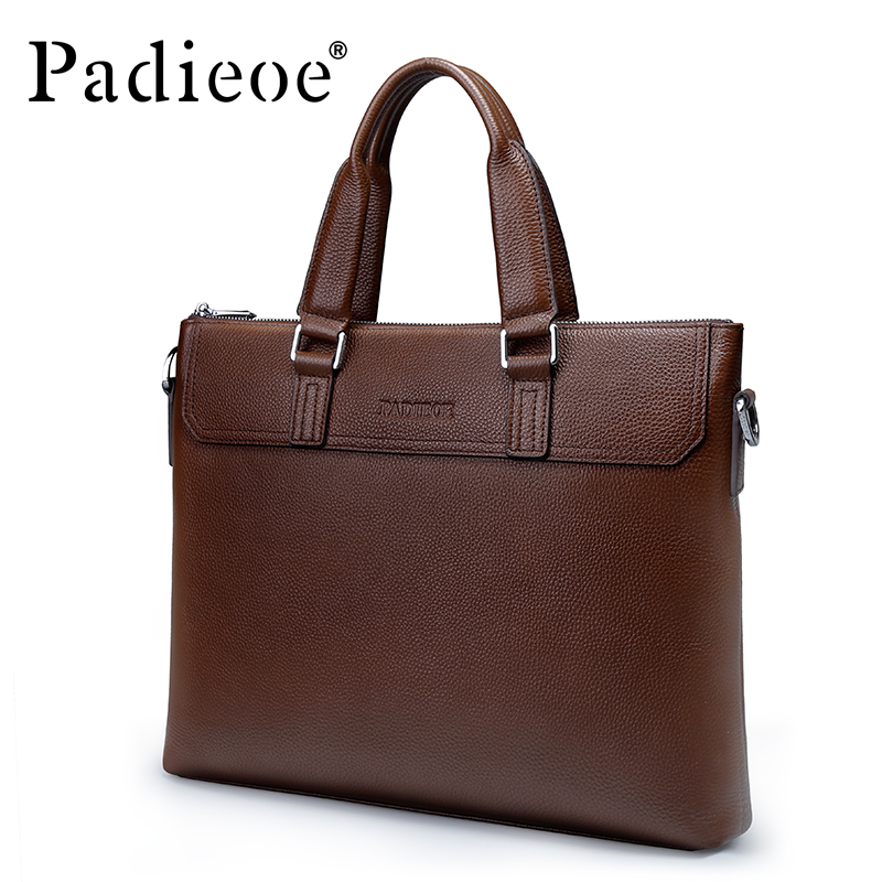 Padieoe 2017 Fashion Genuine Leather Laptop Bag High Quality Business Men Briefcase Famous Brand Luxury Documents Bag for MalePadieoe 2017 Fashion Genuine Leather Laptop Bag High Quality Business Men Briefcase Famous Brand Luxury Documents Bag for Male