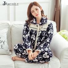 JRMISSLI  Winter Women Pajama Sets Flannel Quilted Sleepwear Pants Home Suit Thicken Princess Homewear Nightgown Lounge Wear