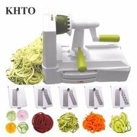 KHTO 5 Blade Vegetable Spiral Slicer Cutter Mandoline Chopper Kitchen Cooking Tools Kitchen Knife Kitchen Accessories Tools
