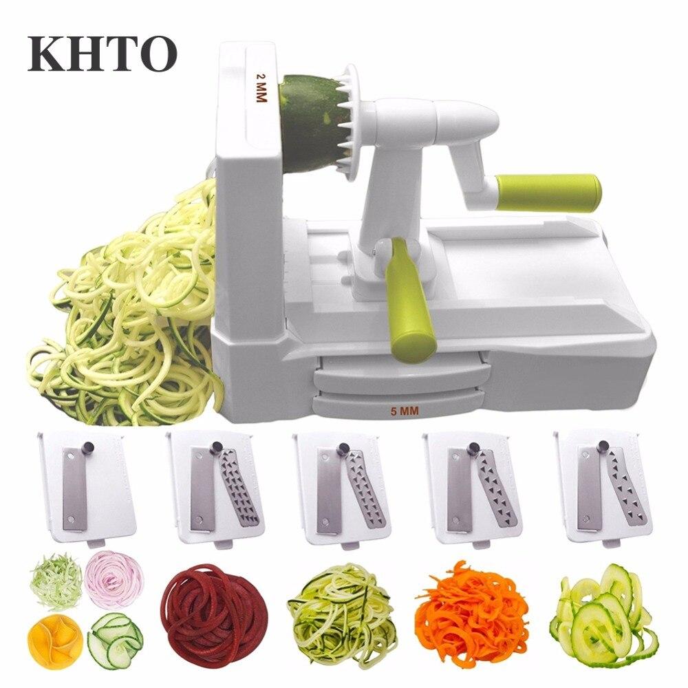 KHTO 5-Lame Légumes Spirale Slicer Cutter Mandoline Chopper Cuisine Ustensiles de Cuisine Couteau de Cuisine Accessoires Outils