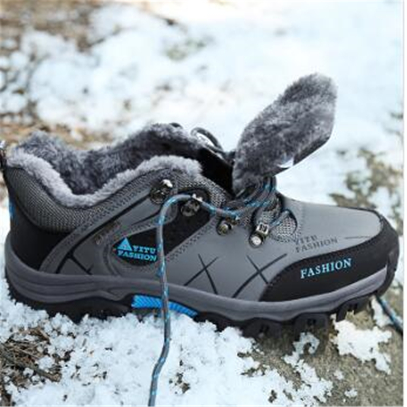 GRAM EPOS  Male Winter Snow Ankle Boots Men Warm Fur Plush Shoes Autumn Spring rubber sole Anti-skid Men Big Size 46 47  Shoes цены онлайн