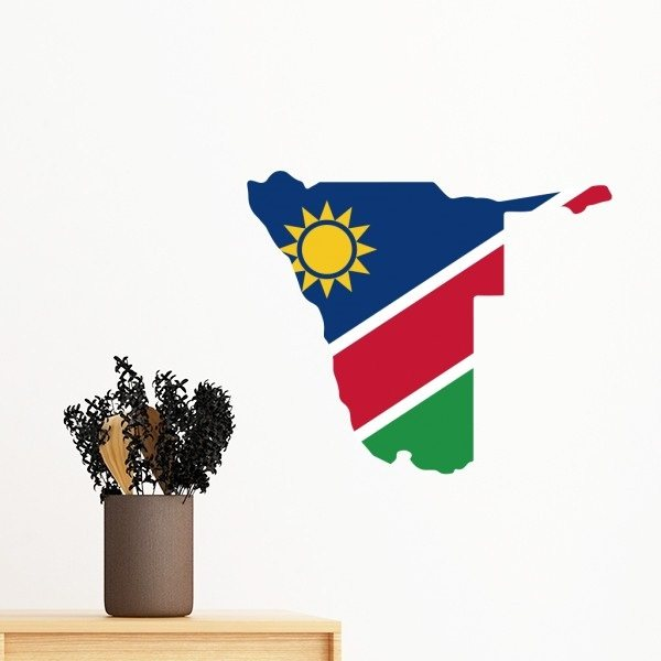 The republic of namibia flag africa country map shape removable wall sticker art decals mural diy wallpaper for room decal