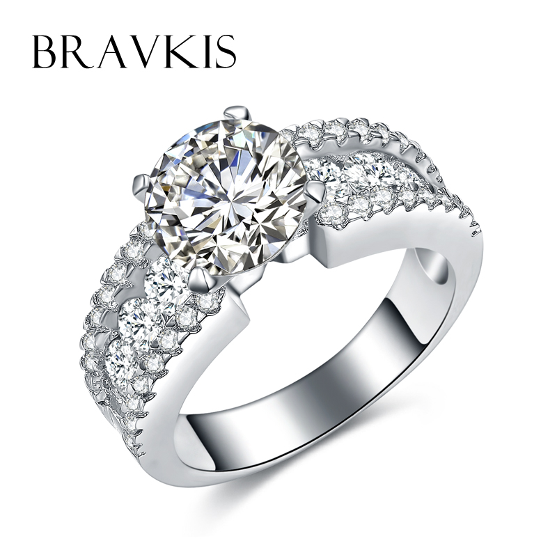 BRAVEKISS classic zircon stone accent solitaire rings for women ...